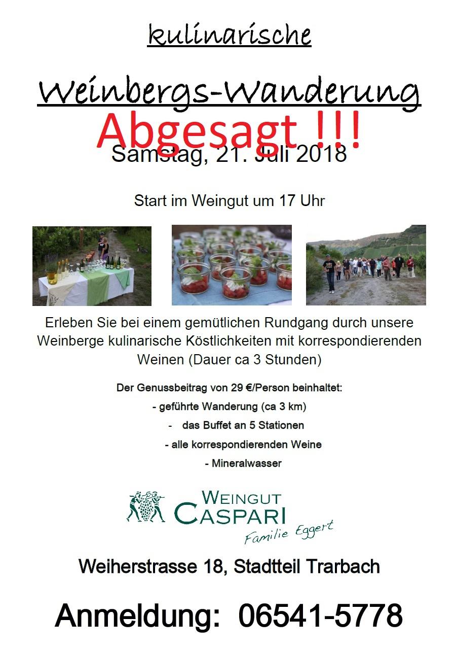 Plakat Weinbergwanderung Juli 2018